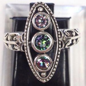 Rainbow Topaz Art Deco Sterling Silver Ring 6